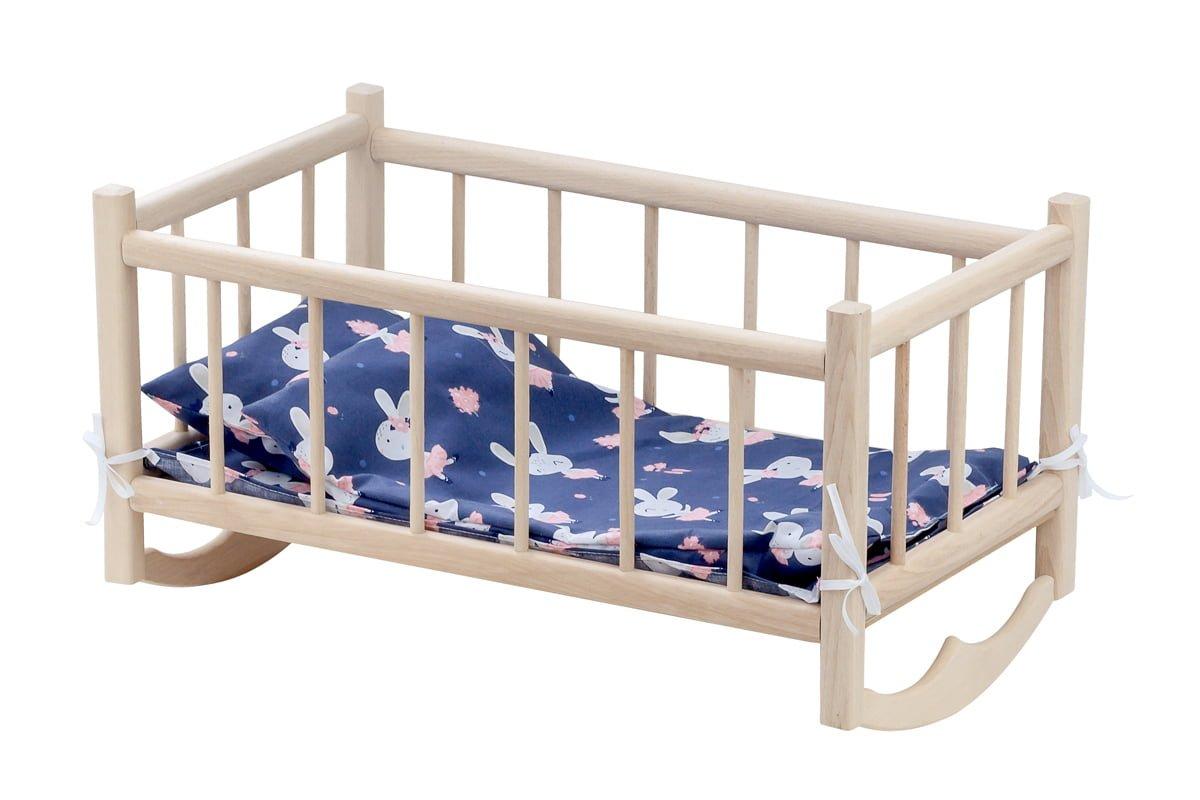 Drewniana kołyska dla lalek zkompletem pościeli