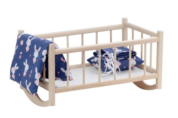 Drewniana kołyska dla lalek z kompletem pościeli