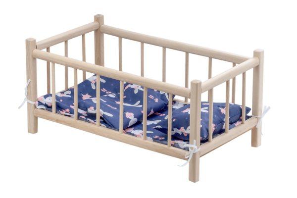 Drewniane łóżeczko - pościel granatowa z motywem króliczków
