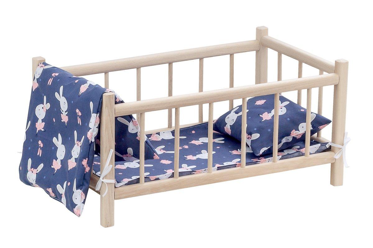 Drewniane łóżeczko - pościel granatowa zmotywem króliczków