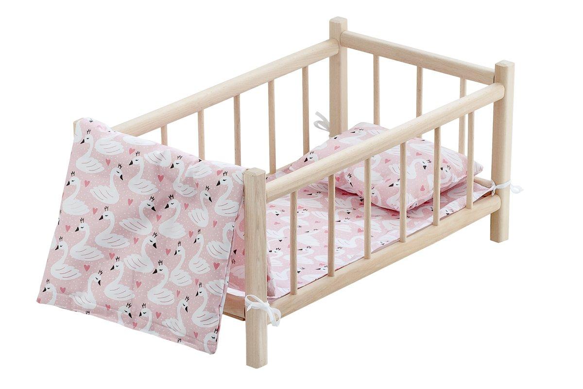 Drewniane łóżeczko - pościel jasno-łososiowa zmotywem białych łabędzi