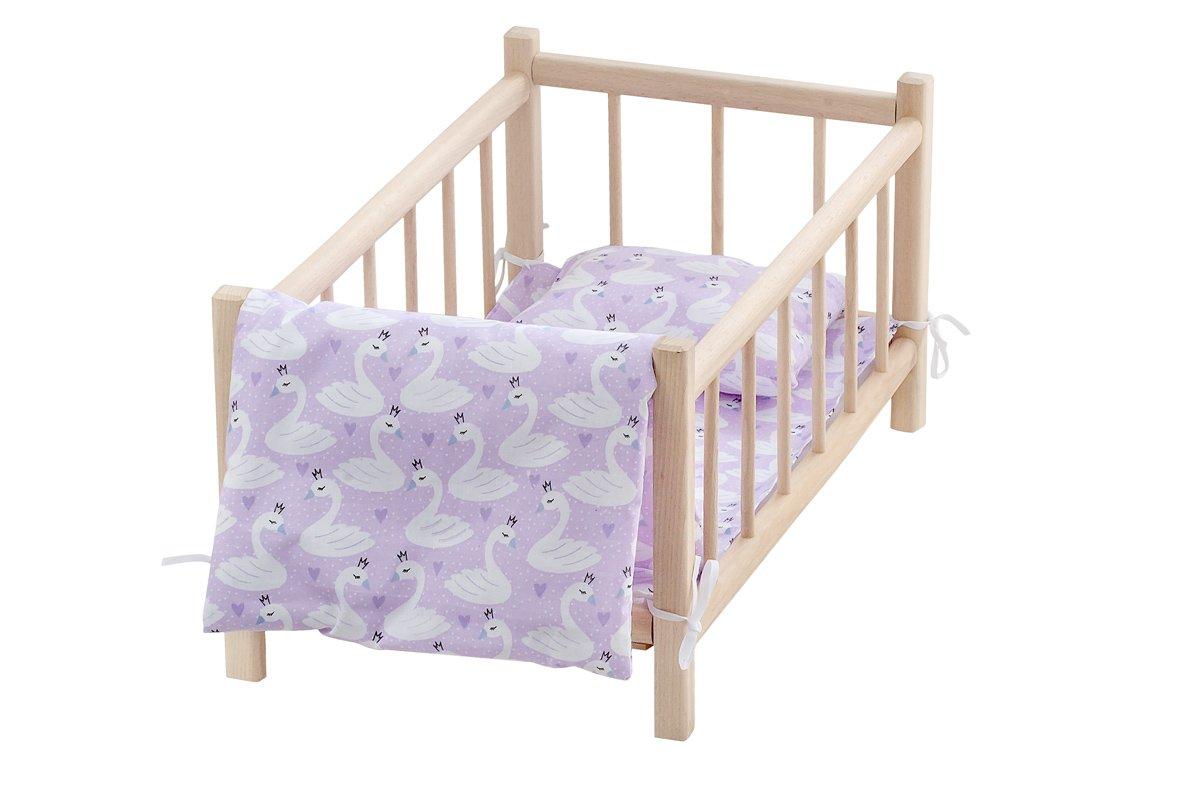 Drewniane łóżeczko dla lalek zkompletem pościeli