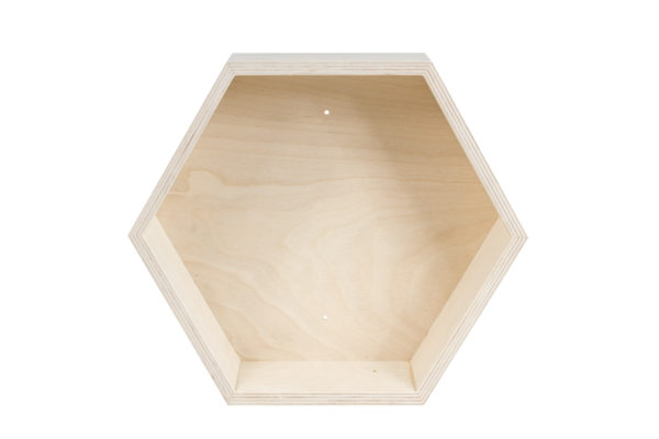Drewniana półka typu plaster miodu