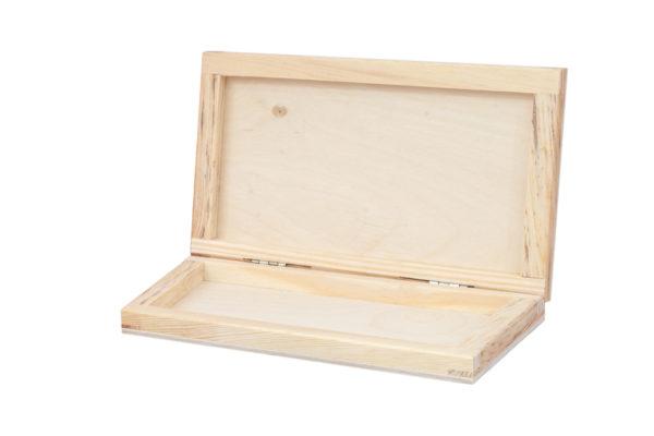 Płaskie pudełko z drewna na drobiazgi, banknoty