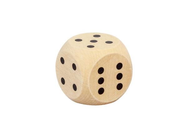 Duża, drewniana kostka do gry