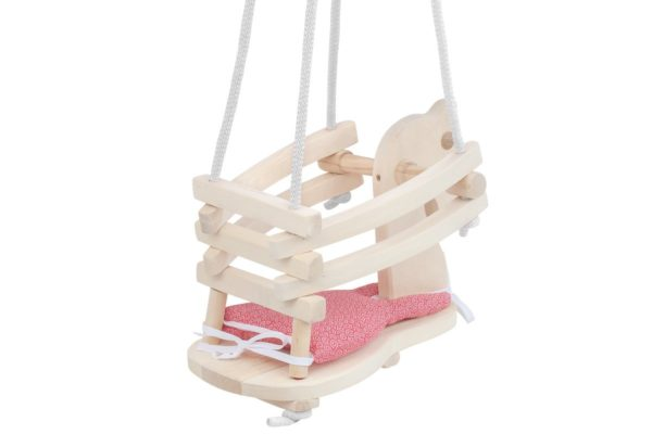 Huśtawka drewniana konik, podwieszana z miękką poduszką
