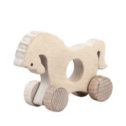 Koń - drewniana figurka, gryzak na kołach