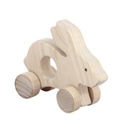 Zając - drewniana figurka, gryzak na kołach