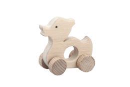Kaczka - drewniana figurka, gryzak na kołach