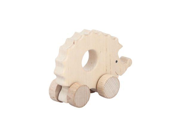 Jeż - drewniana figurka, gryzak na kołach