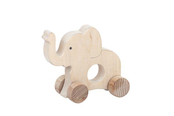 Słoń - drewniana figurka, gryzak na kołach