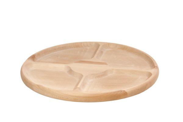 Drewniany półmisek, talerz dzielony na 4 części