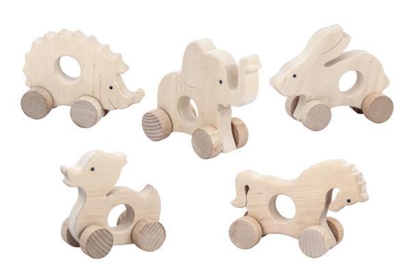 Drewniane figurki zwierząt, gryzaki na kołach