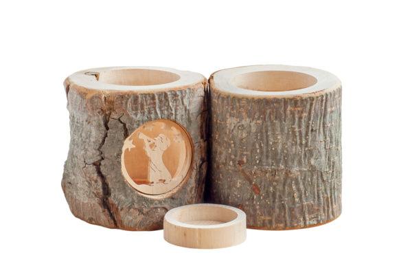 Ozdobny świecznik z nieokorowanego drewna, tea light