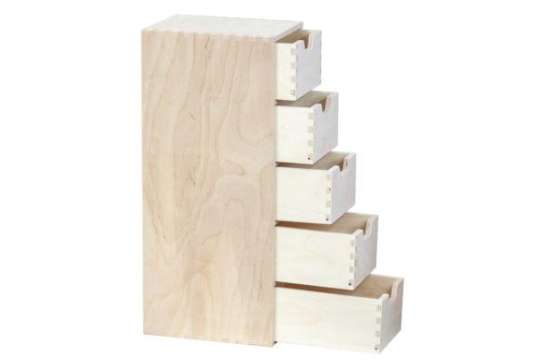 Drewniany organizer, 5 szuflad pionowo