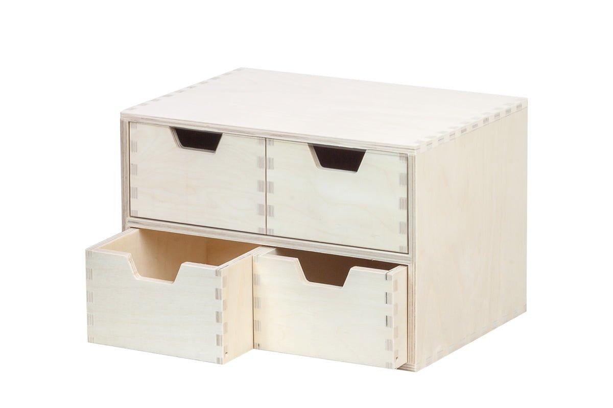 Drewniany organizer, 4 szuflady pionowo
