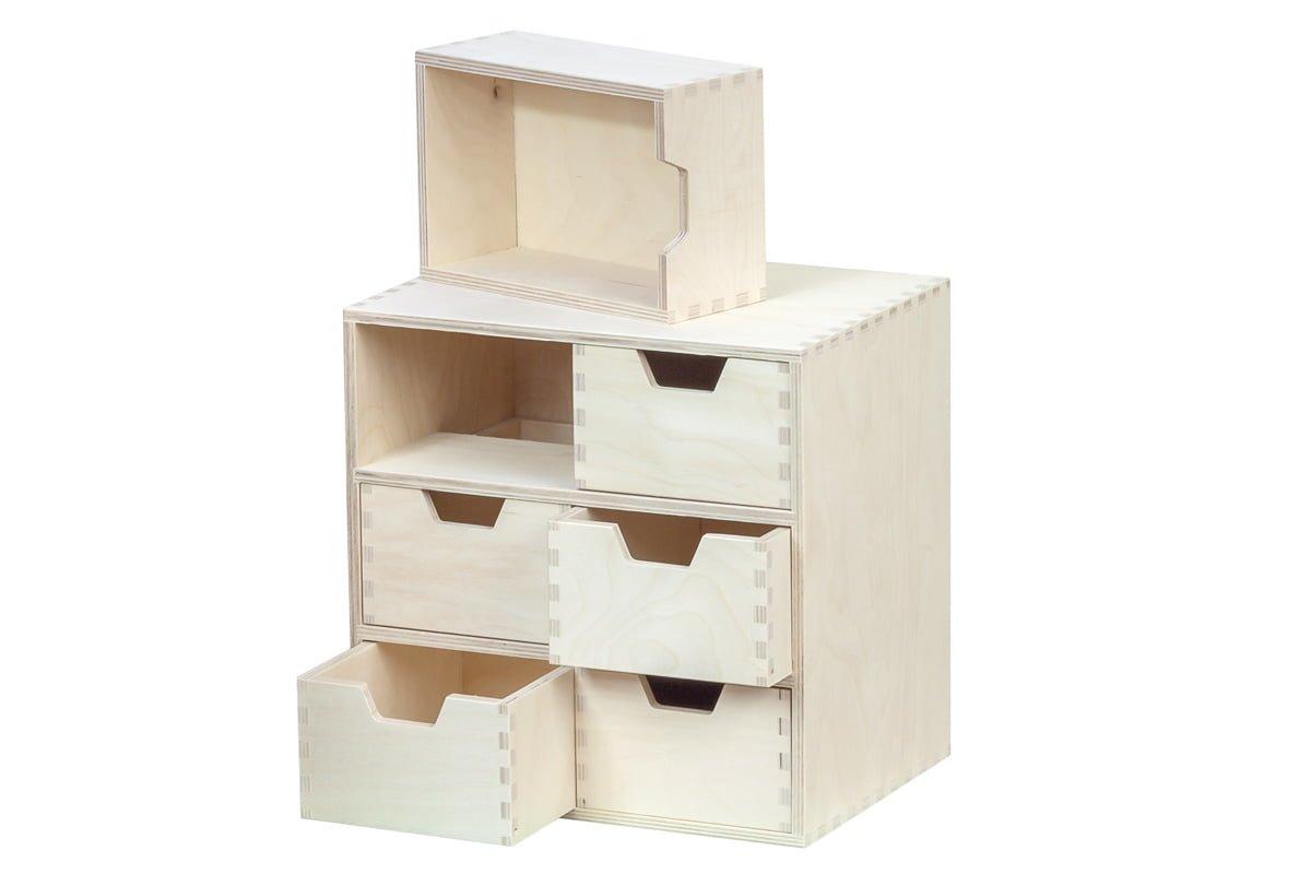 Drewniany organizer, przybornik, 6 szuflad pionowo