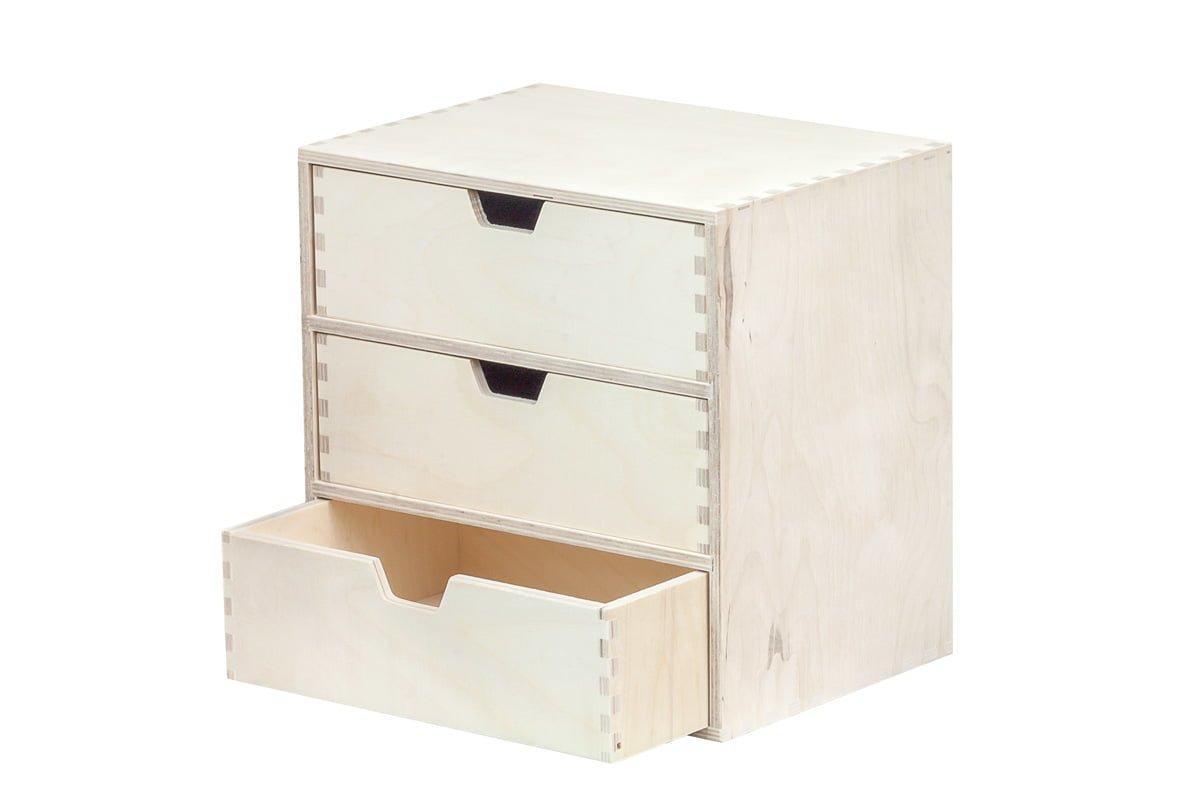 Drewniany organizer, przybornik, 3 szuflady pionowo