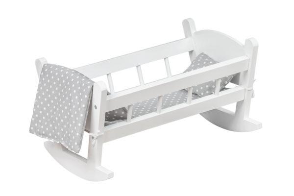 Kołyska dla lalek, drewniana, biała z kompletem pościeli