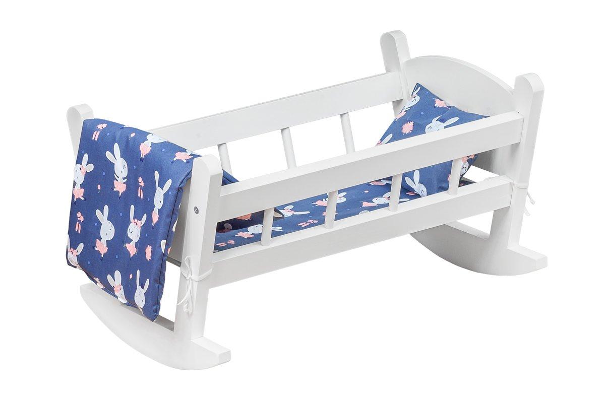 Kołyska dla lalek, drewniana, biała zkompletem pościeli