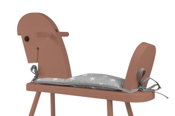 Drewniany konik na biegunach - brązowy z siodełkiem