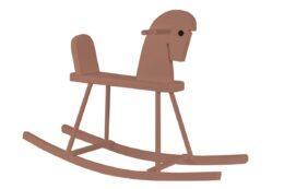 Drewniany konik na biegunach - brązowy