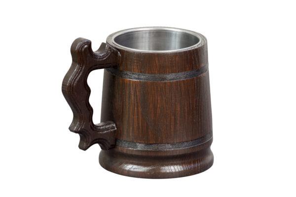 Ozdobny, drewniany kufel - ciemnobrązowy