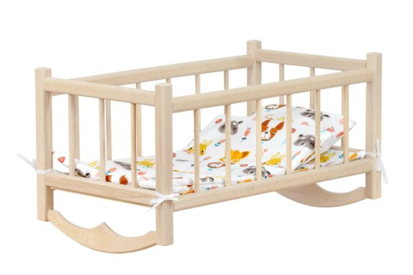 Drewniana kołyska dla lalek - z pościelą