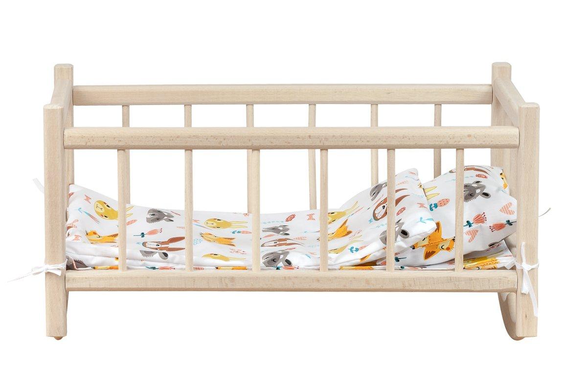 Drewniana kołyska dla lalek - zpościelą