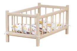 Drewniane łóżeczko dla lalek - z pościelą