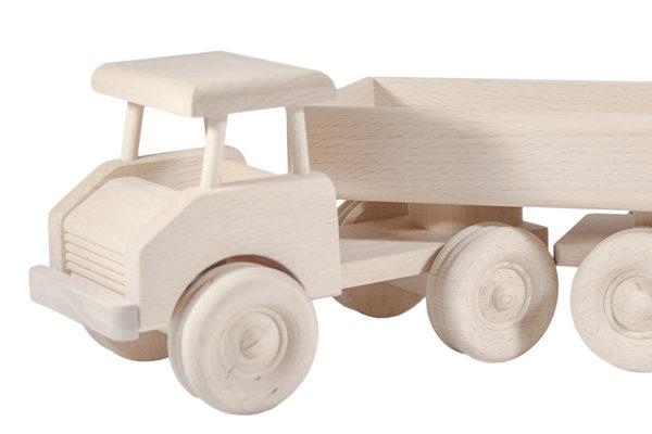 Duża, drewniana ciężarówka z odpinaną naczepą