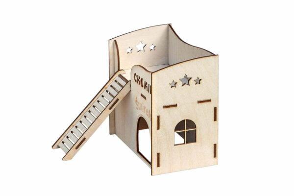 Drewniany domek dla chomika - z grawerem