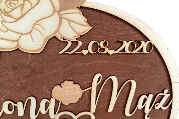 Duże, ozdobne koło na ślub, wesele - personalizacja