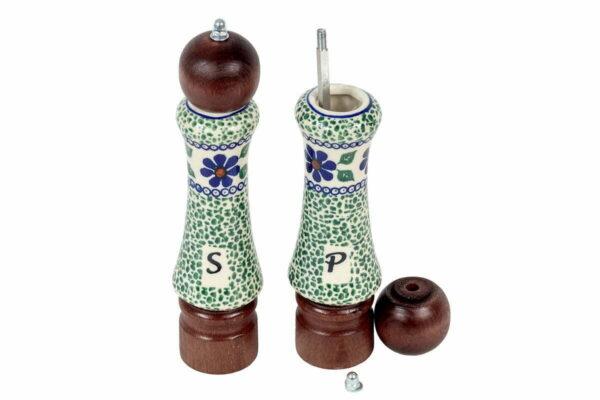 Zestaw dwóch ręcznych młynków - z drewna i ceramiki