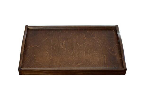 Drewniana taca z uchwytami, brązowa