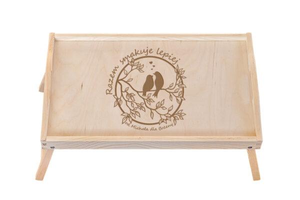 Taca, stolik śniadaniowy z grawerem - Walentynki, ślub, rocznica