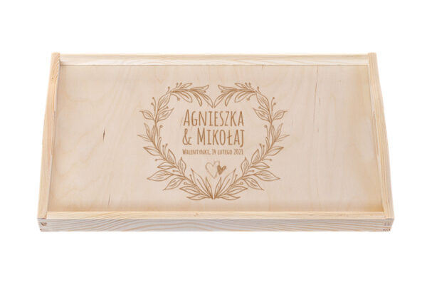 Taca drewniana z grawerem - Walentynki