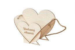 Drewniany koszyczek, osłonka na kwiaty grawer Dzień Matki