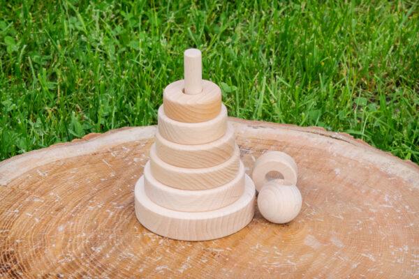 Drewniana układanka z krążkami – piramida
