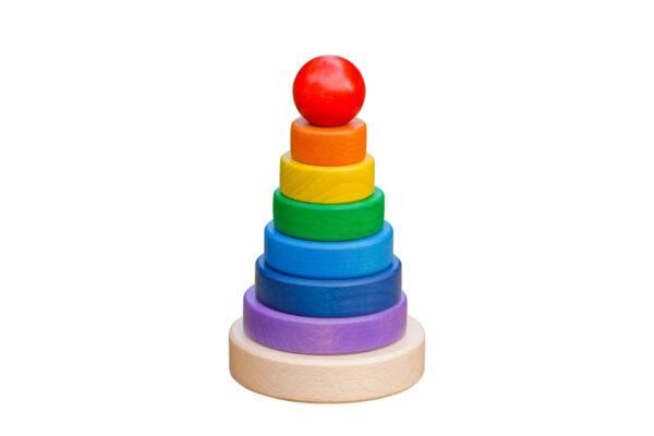 Drewniana układanka z krążkami – kolorowa piramida