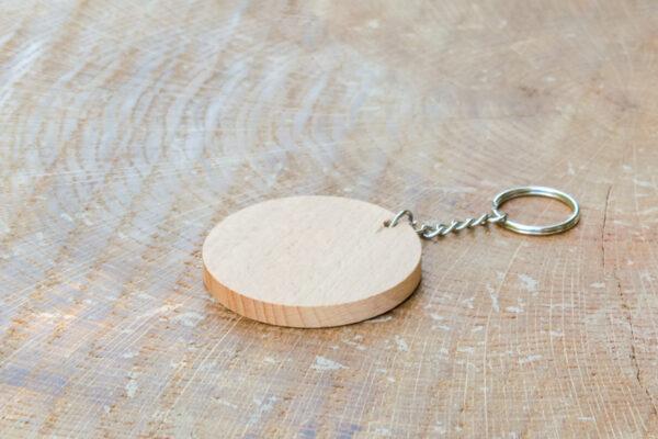 Okrągły breloczek do kluczy - bukowy