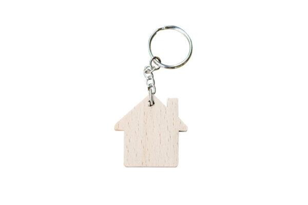 Drewniany breloczek do kluczy, domek